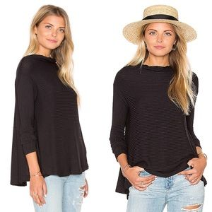 Free People Lover Rib Thermal Top Black Open Back